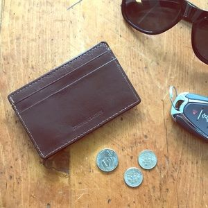 Italian leather card holder money clip